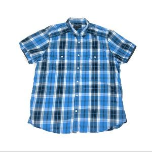 INC International Concepts Men's Blue Plaid Shirt
